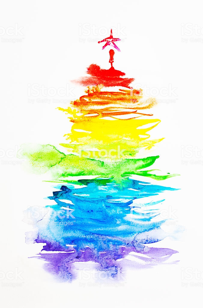 Colorful watercolor christmas tree. Beautiful paper texture